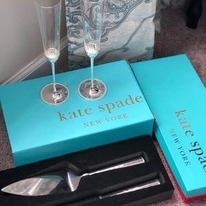 Kate Spade Wedding Flutes and Cake Serving Set